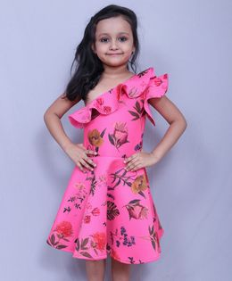 Varsha Showering Trends Party Wear Floral Dress - Pink