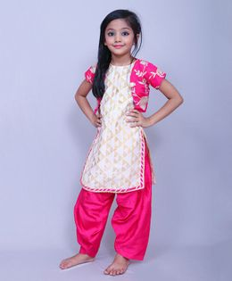 Varsha Showering Trends Short Sleeves Jacket Kurti & Salwar - Pink & Off White
