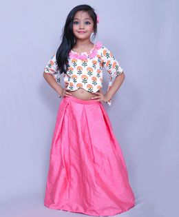 Varsha Showering Trends Printed Half Sleeves Crop Top With Pleated Skirt - Peach & White