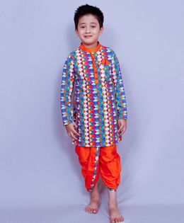 Varsha Showering Trends Full Sleeves Kurta And Dhoti Set Geometric Print - Orange Blue