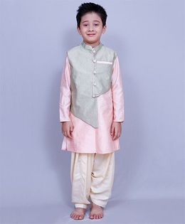 Varsha Showering Trends Full Sleeves Kurta And Pajama With Waistcoat - Pink Grey