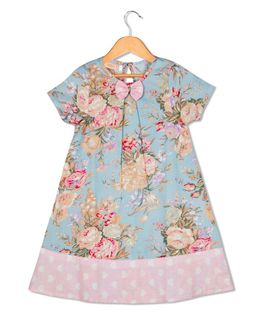 Sorbet Short Sleeves Frock Roses Print With Contrast Border - Blue
