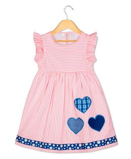 Sorbet Short Sleeves Neon Stripes Dress With Heart Applique - Pink