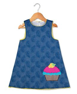Sorbet Sleeveless Dress With Cupcake Applique & Lace - Blue