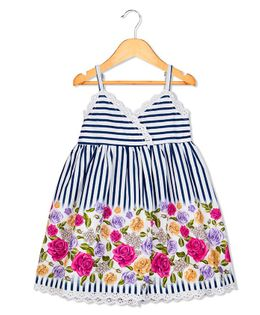 Sorbet Singlet Frock Stripes Printed With Lace - Blue