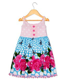 Sorbet Singlet Dress Butterfly & Floral Print - Multicolor