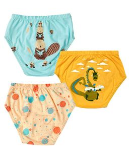 Plan B I''M All Booked Set of Three Boy Underwear - Aruba Blue, Gold, Off White