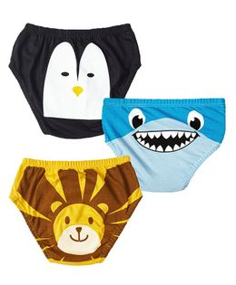 Plan B The Junglees Return Set Of Three Boy Underwear - Gold, Blue, Black