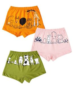 Plan B Animal Kingdom Set Of Three Girl Boxer Shorts - Lime, Baby Pink, Orange