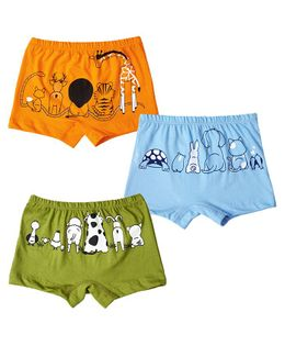 Plan B Animal Kingdom Set Of Three Boy Boxer Shorts - Lime, Blue, Orange