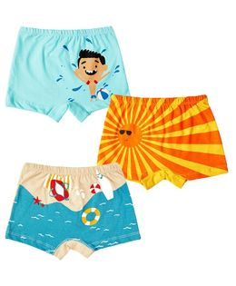 Plan B Summer Holiday Set Of Three Boy Boxer Shorts - Aruba Blue, Light Peach, Gold