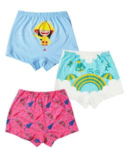 Plan B Monsoon Magic Set Of Three Girl Boxer Shorts - Blue, White, Dark Pink
