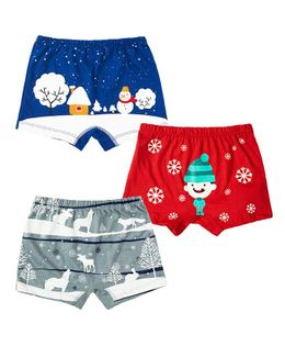 Plan B Winter Wonderland Set Of Three Boy Boxer Shorts - Red Royal Blue Grey
