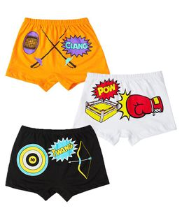 Plan B Indoor Sports Set Of Three Boy Boxer Shorts - White Orange Black