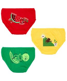 Plan B Go Green Set Of Three Girls Panties - Red Green Yellow