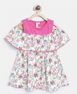 Kids On Board Floral Print  Dress - White & Pink