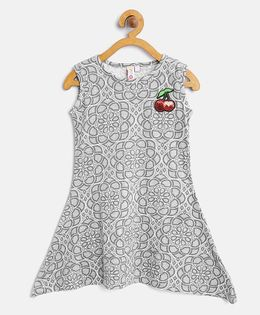 Kids On Board Assymetrical Dress With Patch - Grey & White
