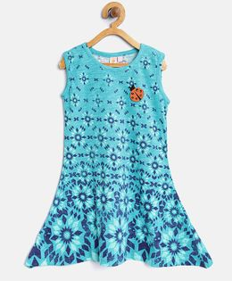 Kids On Board Assymetrical Design Dress With Patch - Blue