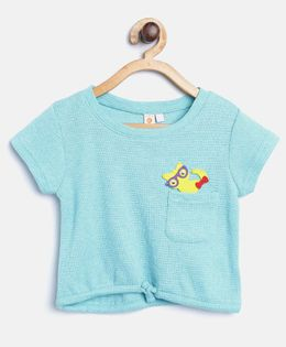Kids On Board Knot Top With Patch - Sky Blue