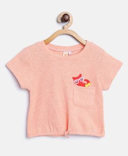 Kids On Board Knot Top With Patch - Peach