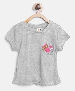 Kids On Board Knot Top With Patch - Silver