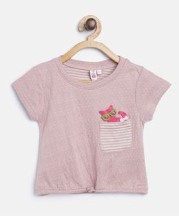 Kids On Board Knot Top With Patch - Light Pink