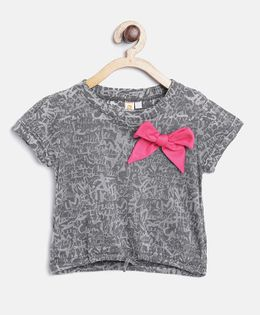 Kids On Board Knot Top With Bow - Grey