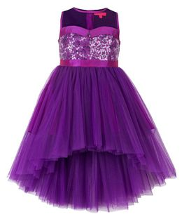 Toy Balloon Sequince Hi-Low Party Dress - Purple (9 to 10 Years)