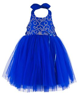Toy Balloon Embroidered Halter Neck Party Dress - Blue