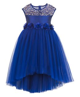 Toy Balloon Sequin High Low Party Dress - Blue