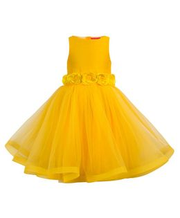 Toy Balloon Roses Applique Party Dress - Yellow