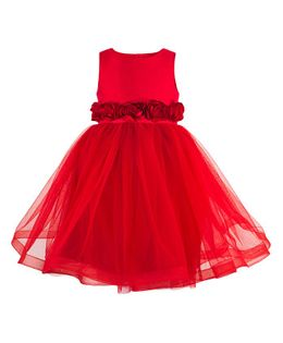 Toy Balloon Roses Applique Party Dress - Red