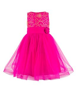 Toy Balloon Embroidered Party Wear Sleeveless Dress - Pink