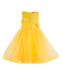 Toy Balloon Embroidered Party Wear Sleeveless Dress - Yellow