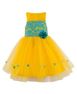 Toy Balloon Flower Applique Party Wear Dress - Yellow