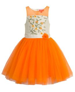 Toy Balloon Floral Embroidered Party Wear Dress - Orange