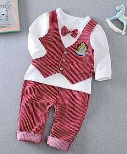 Pre Order - Dells World Full Sleeves T-Shirt With Striped Print Attached Waistcoat & Bottom & Bow - White & Red