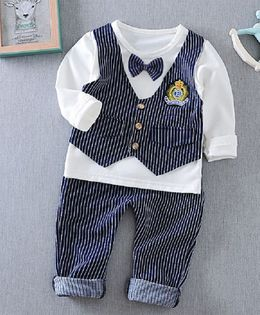 Pre Order - Dells World Full Sleeves T-Shirt With Striped Print Attached Waistcoat & Bottom & Bow - White & Blue