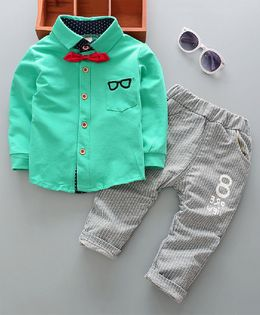 Pre Order - Dells World Spectacles Print Pocket Shirt With Stripped Bottom & Bow - Green & Grey