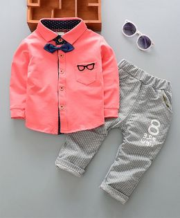 Pre Order - Dells World Spectacles Print Pocket Shirt With Stripped Bottom & Bow - Pink & Grey