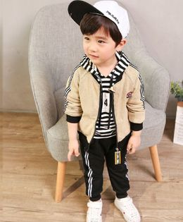 Pre Order - Dells World Striped Hoodie With Jacket & Bottom - Beige & Black