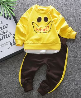 Pre Order - Dells World Smiley Print Full Sleeves T-Shirt With Bottom - Yellow & Brown