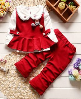 Pre Order - Dells World Peterpan Collar Full Sleeves Top With Peplum Jacket & Bottom - Maroon & Red