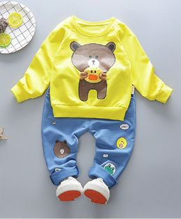 Pre Order - Dells World Teady Bear Print T-Shirt With Bottom - Yellow & Blue