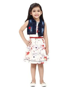 Tiny Baby Floral Print Dress With Denim Jacket - White