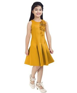 Tiny Baby Flower Applique Pleated Dress - Mustard