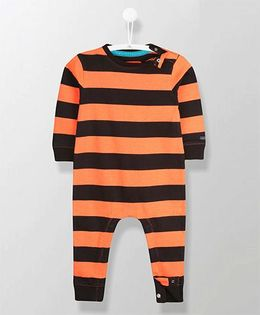 Cherry Crumble California Marvellous Stripe Romper - Orange & Black