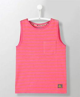 Cherry Crumble California Sleeveless Striped Tee - Pink