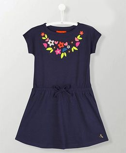 Cherry Crumble California Striking Embroidery Dress - Navy Blue