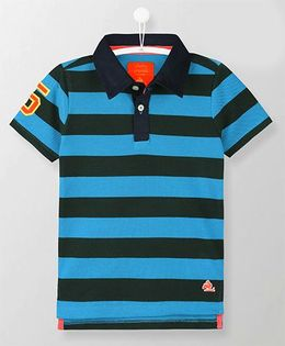 Cherry Crumble California Sporty Breathable Polo Tee - Blue
